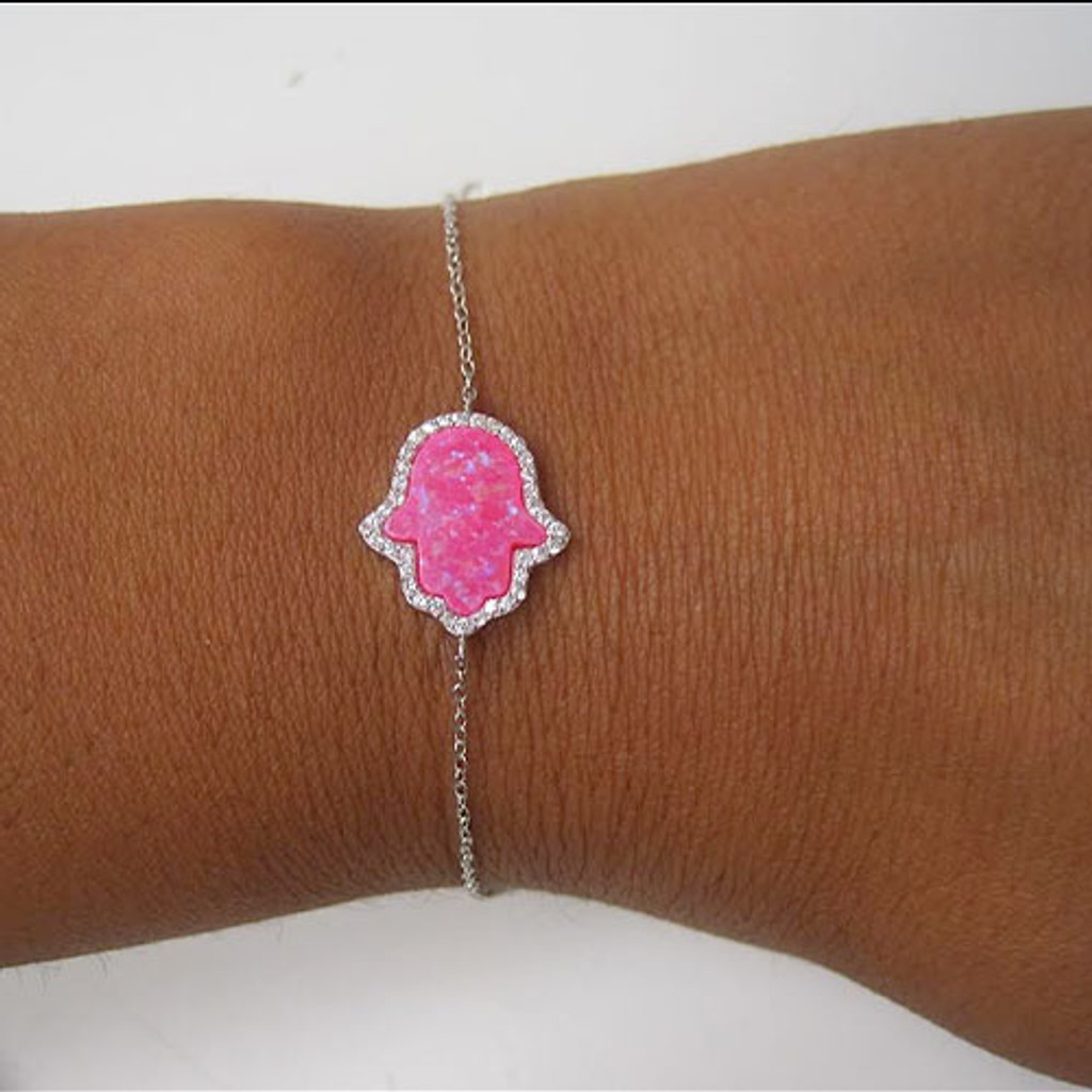 Hot Pink Opal Hamsa With C.Z. Bracelet