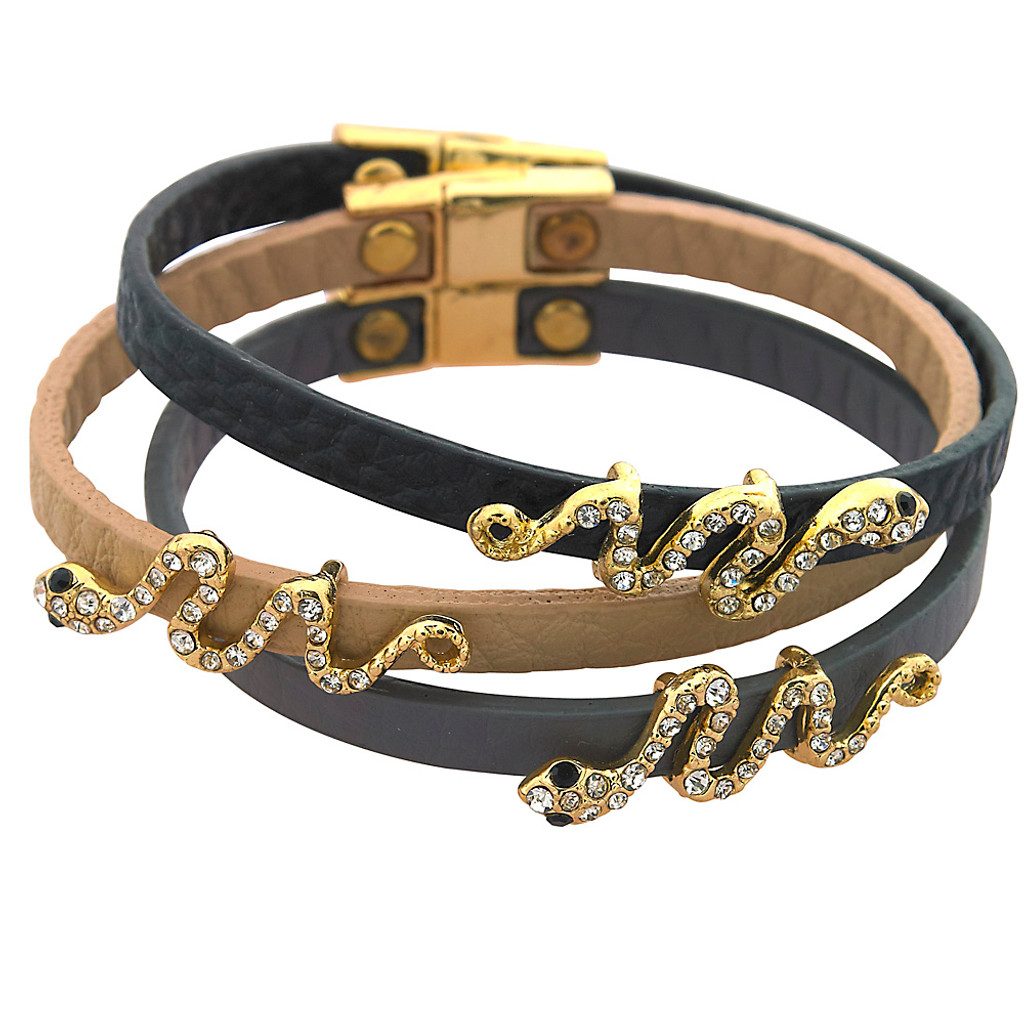 Pave Snake Leather Bracelet