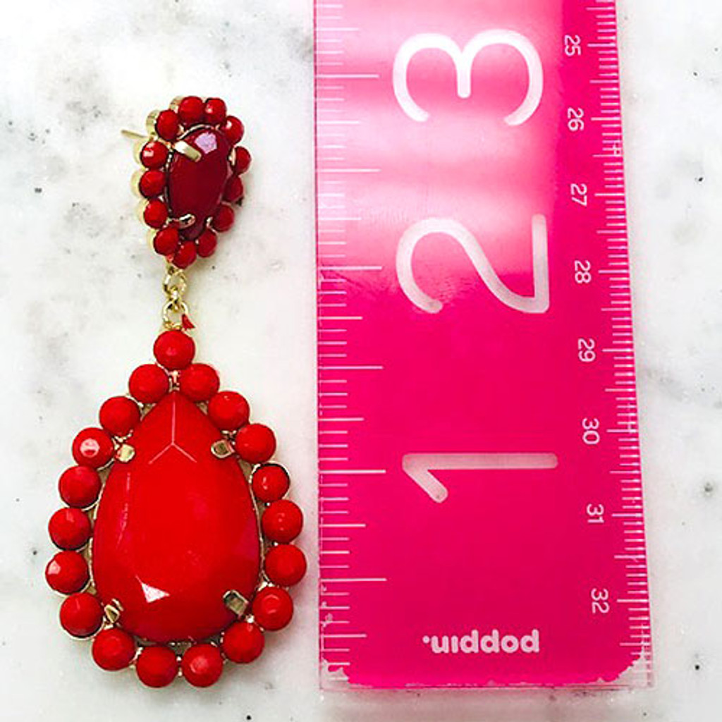 Our Long Red Teardrop Dangles