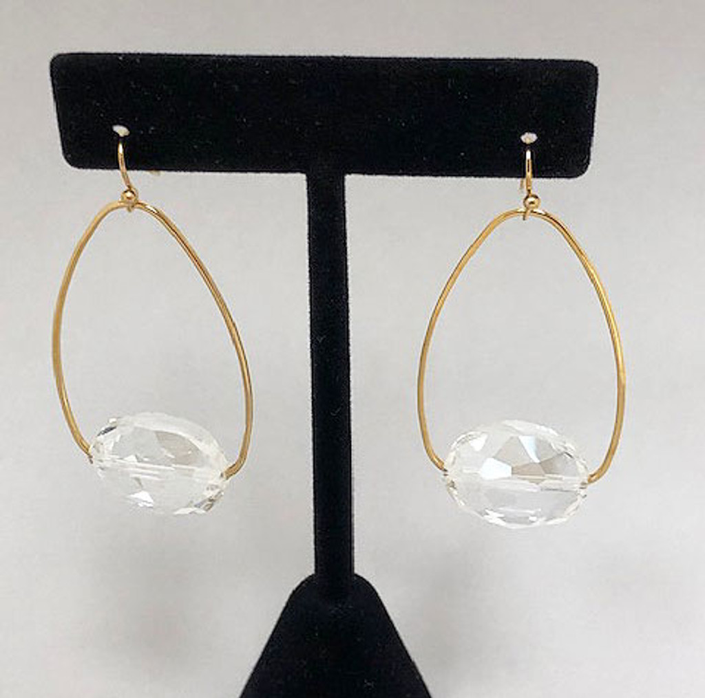 Clear Crystal on a Gold Oval Hoop
