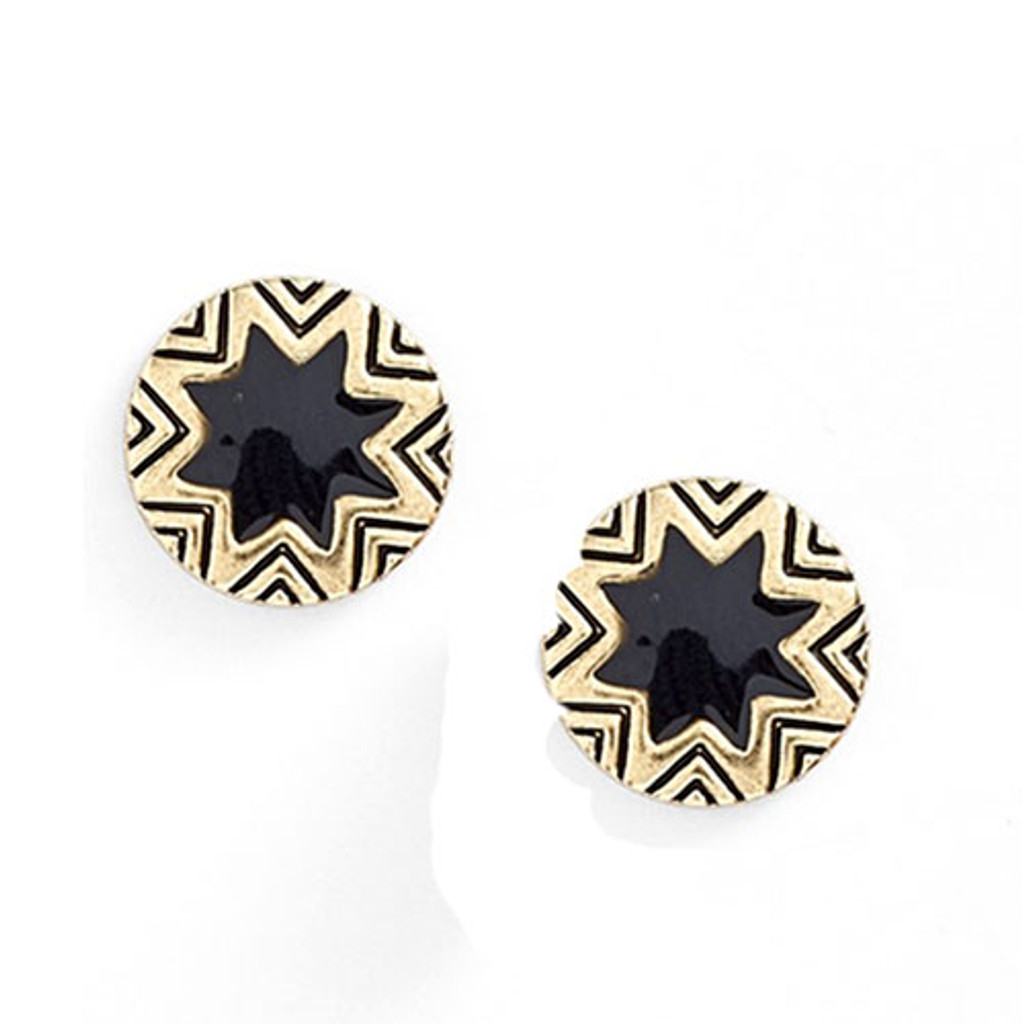 House of Harlow's Mini Black Enamel Starbursts