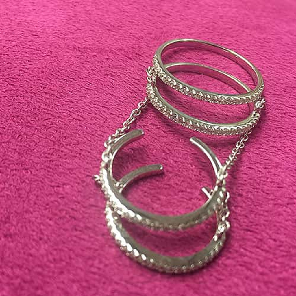 Four C.Z. Linked Bands Ring
