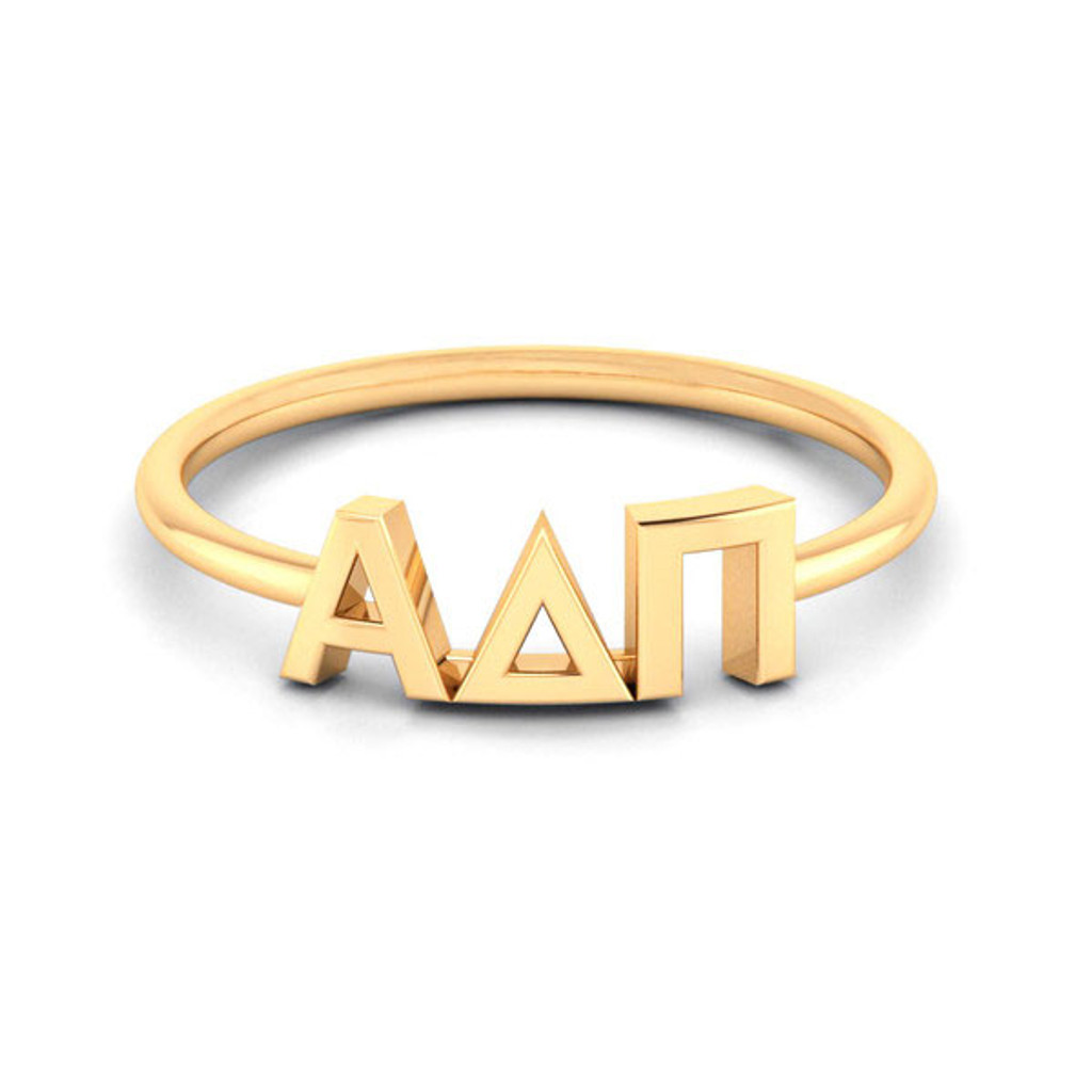 Alpha Delta Pi Gold Thin Band Letter Ring