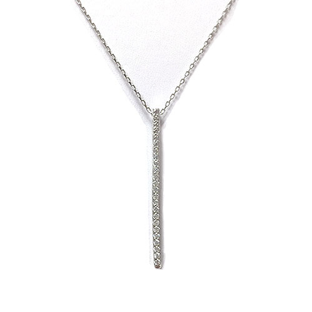 Sterling Silver Vertical C.Z. Bar Necklace