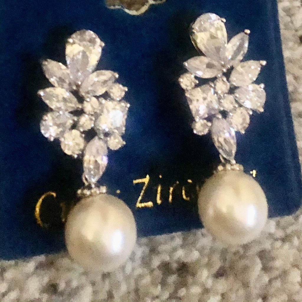Assorted Shaped Cubic Zirconia with Round Pearl Drop