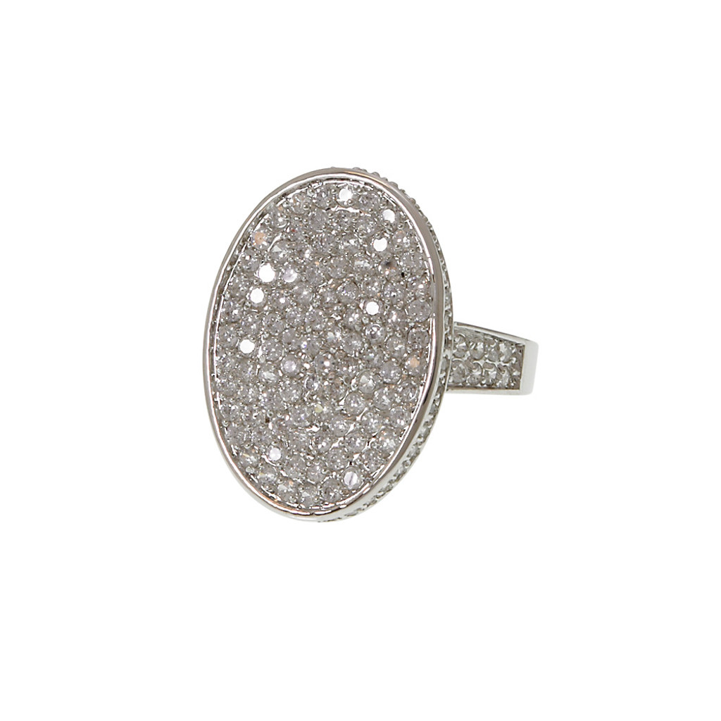 Gorgeous Oval Pave Ring Silver