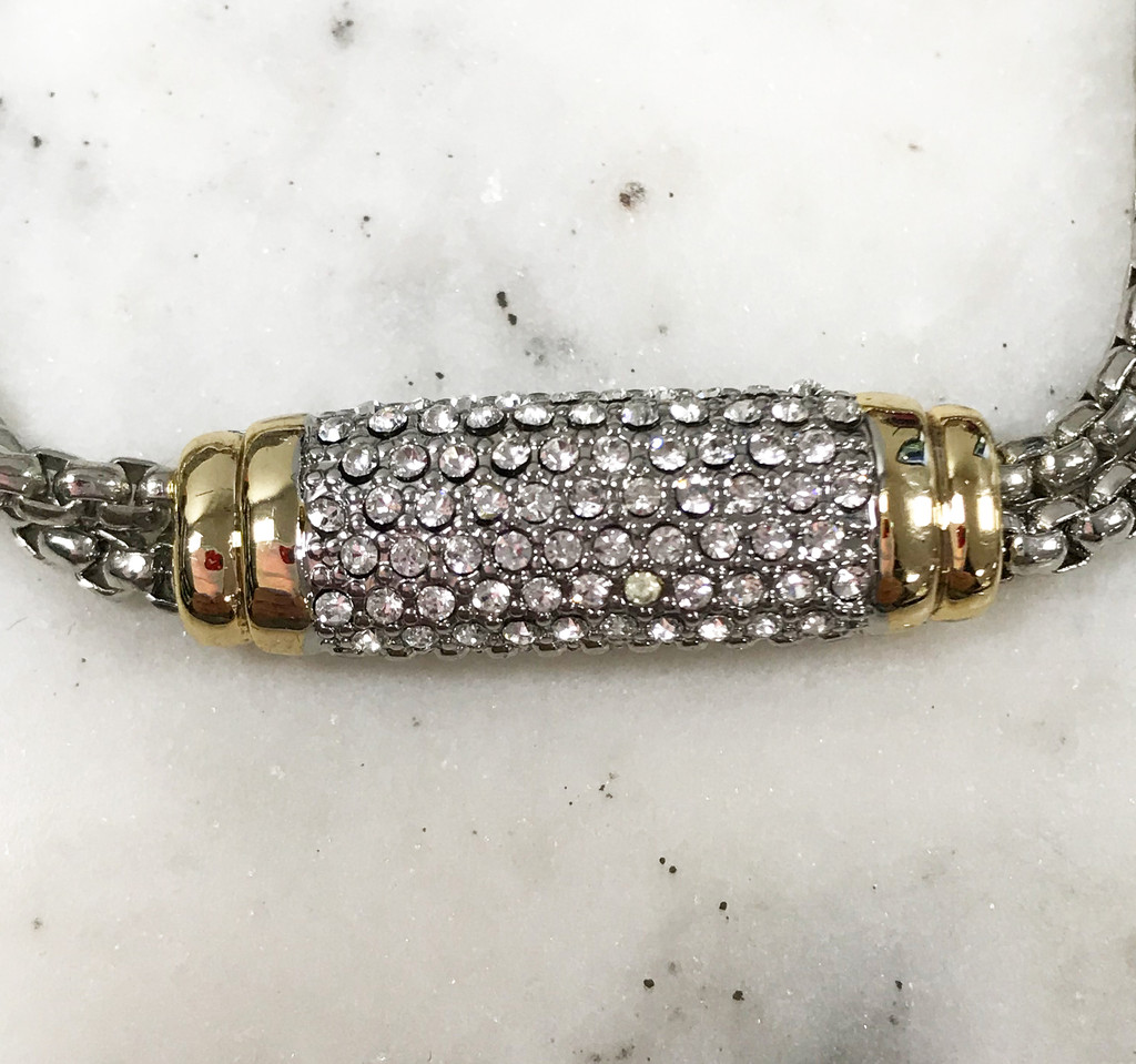 Yuri's Two Row Chain with Crystal Pave Bar