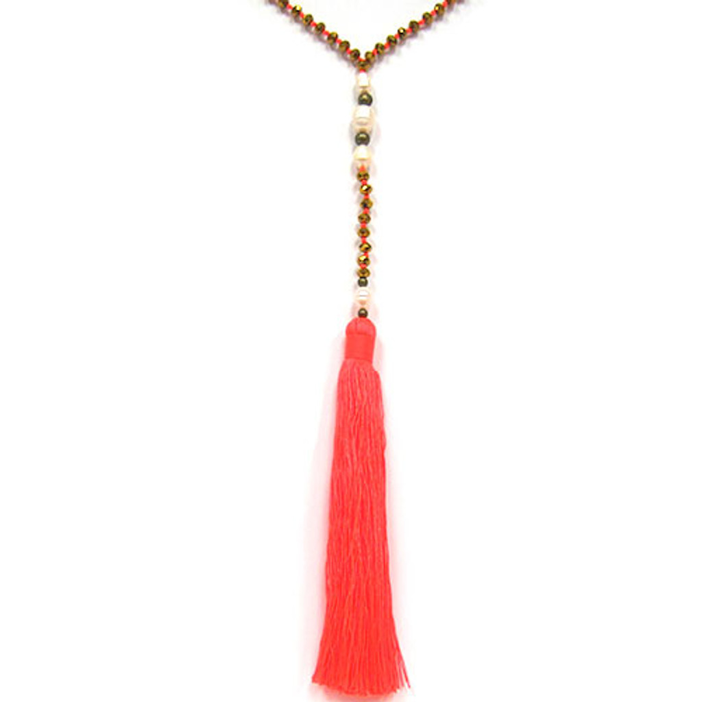 Zacasha's Bohemian Chic Crystals and Pearls Tassel Necklace 1