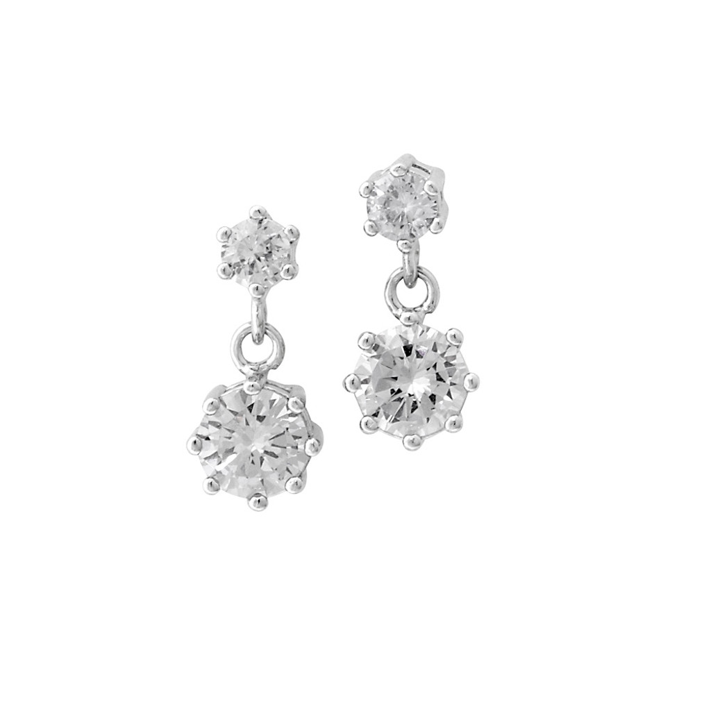 Crystal Clear Cubic Zirconia Double Drops