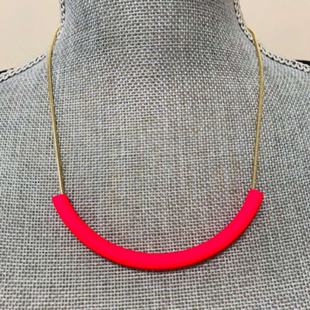 Totally Tubular Hot Pink Necklace