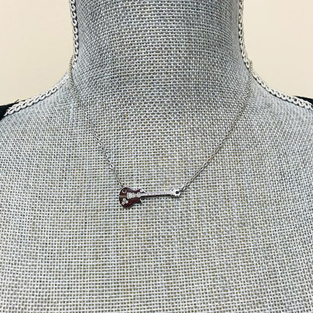 Lets Make Music Silver Guitar Necklace