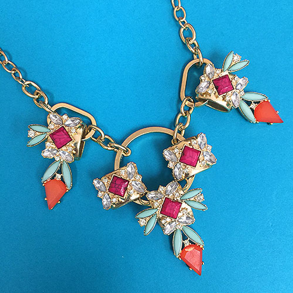 Orange Arrow Head Statement Necklace