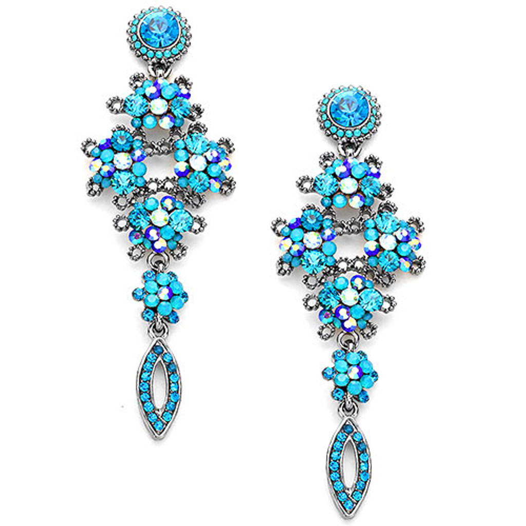 Blue Zircon Floral Brilliance Earring