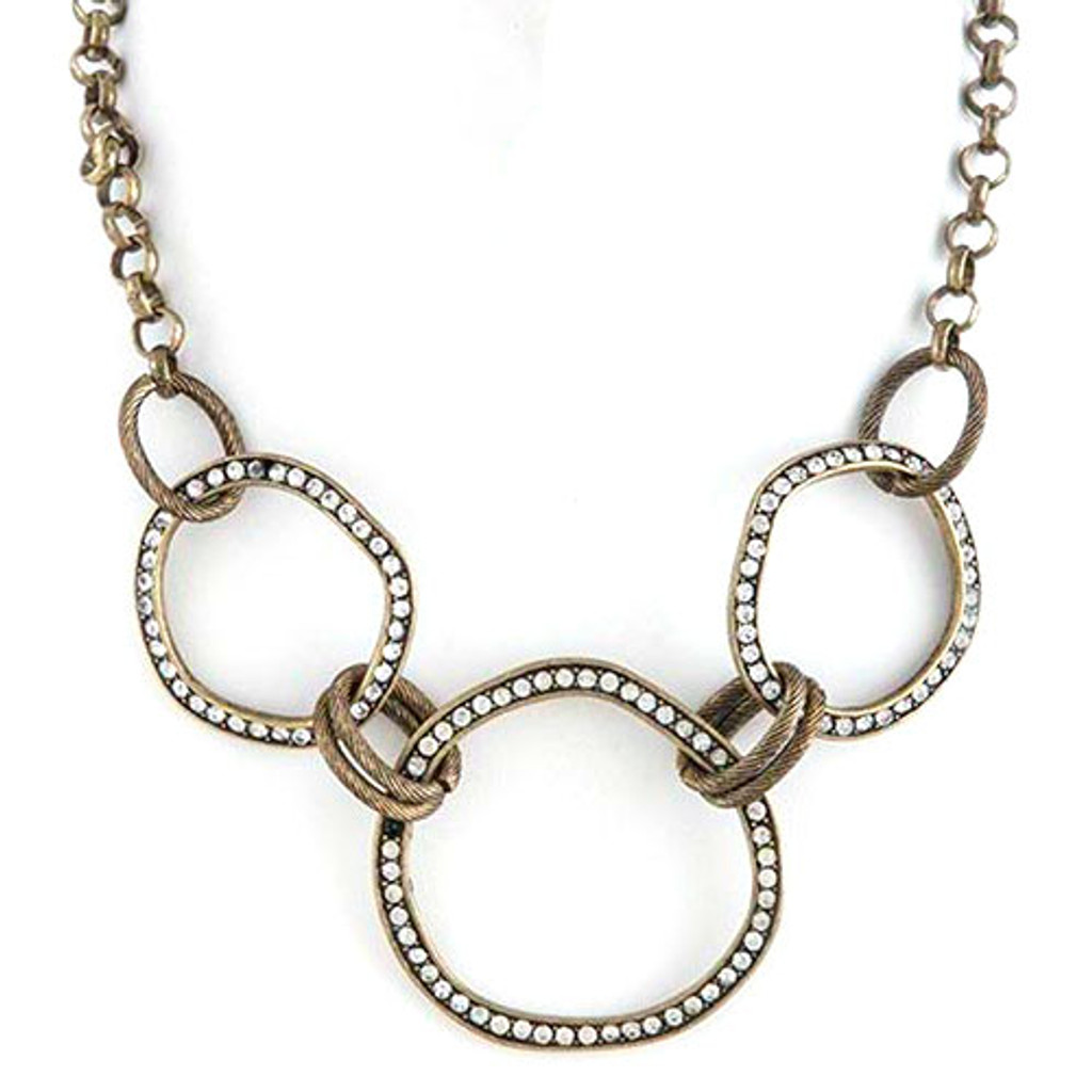 Antiqued Circle Links Necklace-CLR