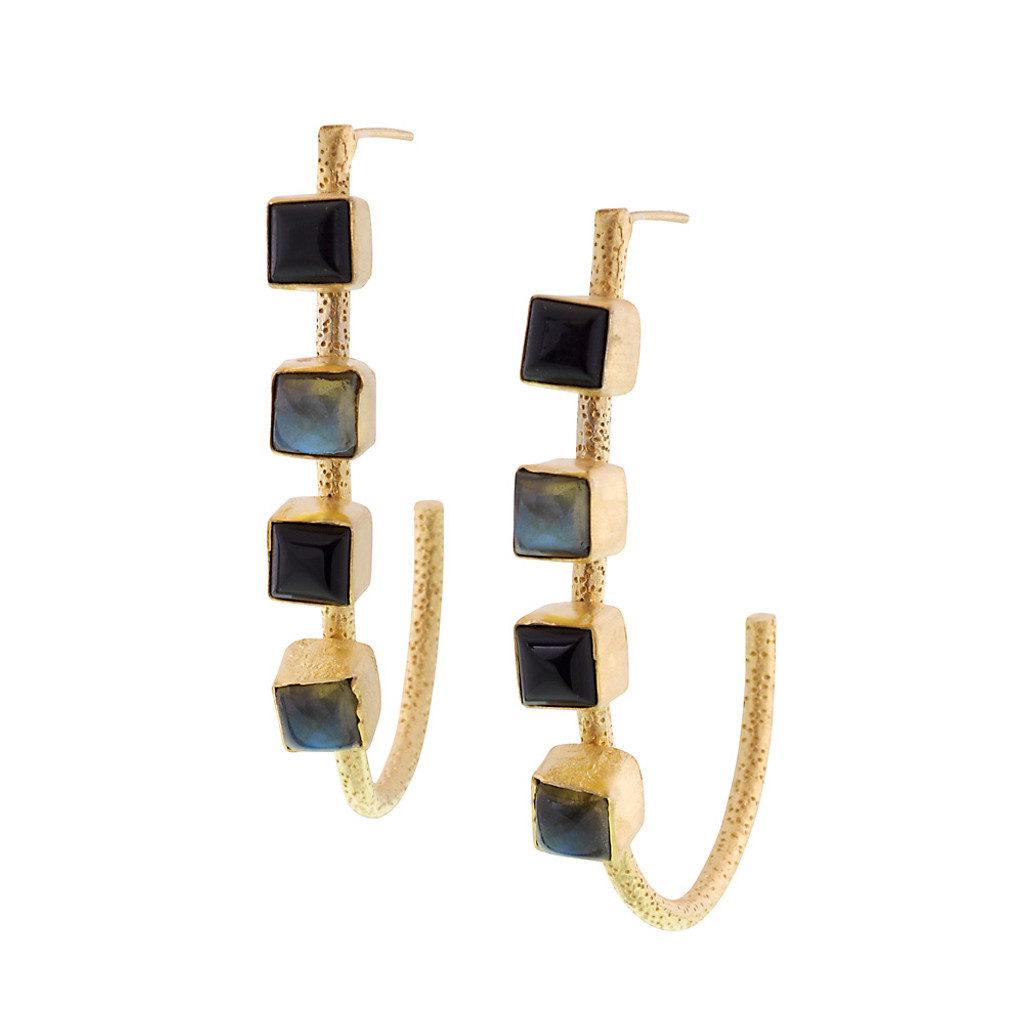 Four Stone Exotic Open Hoop Earring