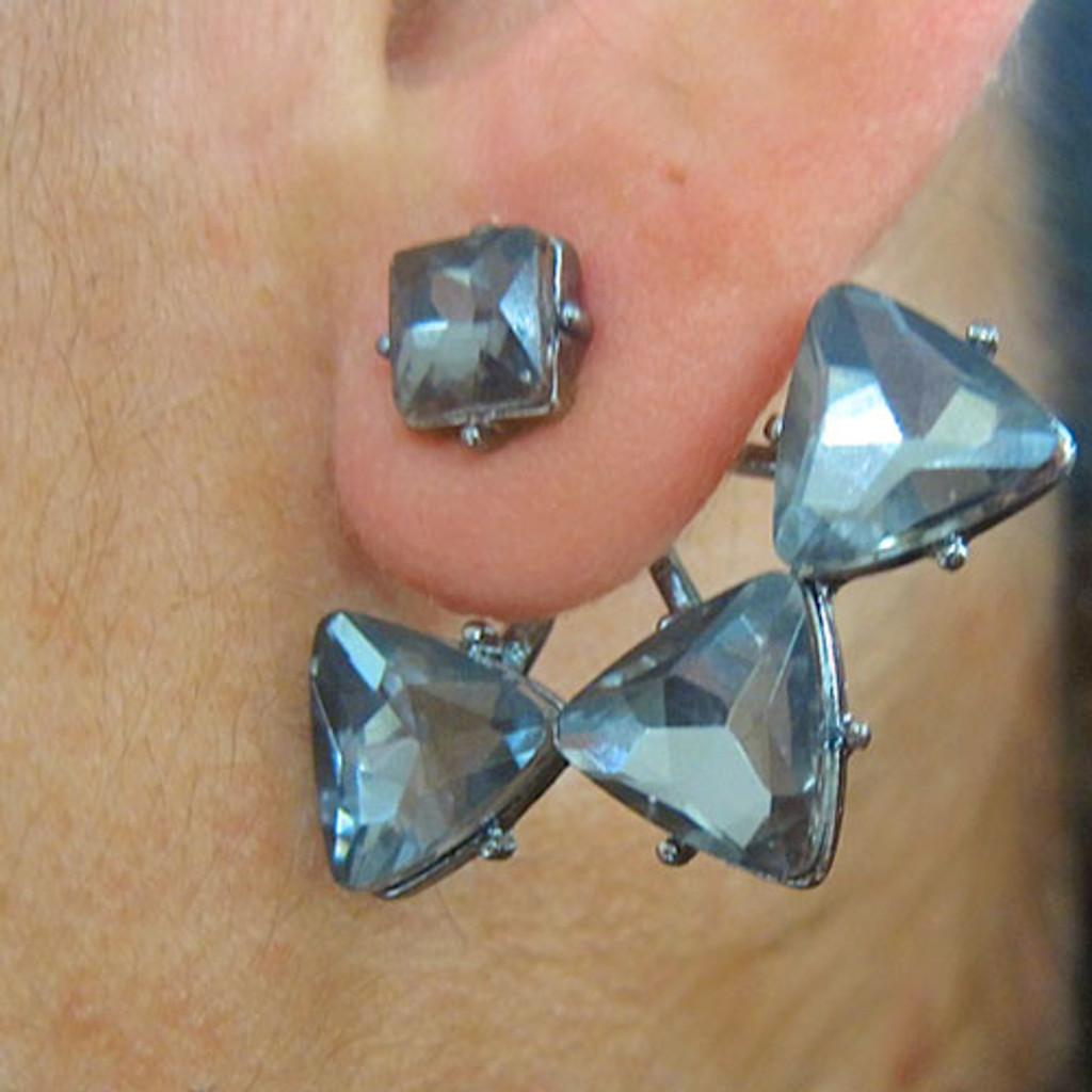 Black Diamond Crystal Points Earring