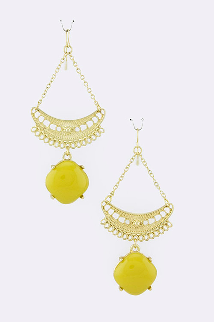 Half Moon and Yellow Square Dangle