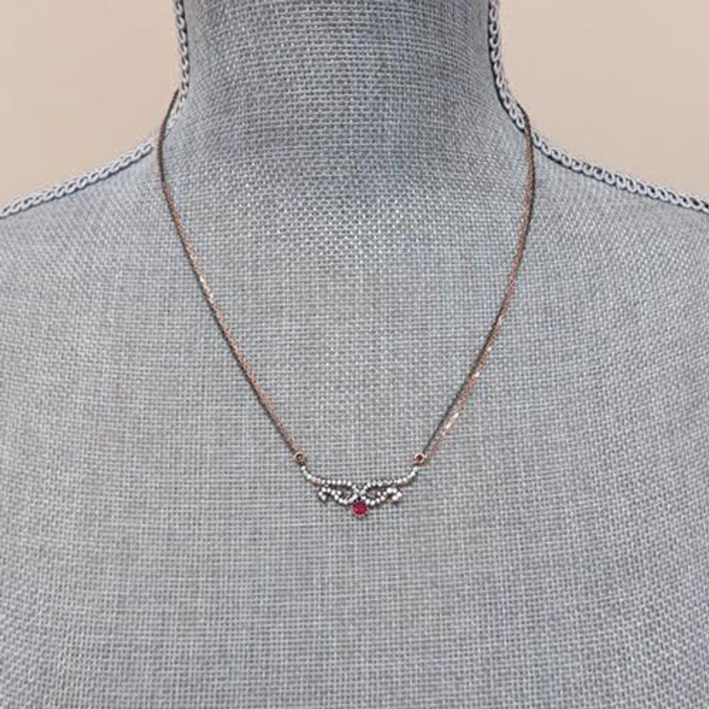 Rose Gold and Gunmetal Ruby Necklace