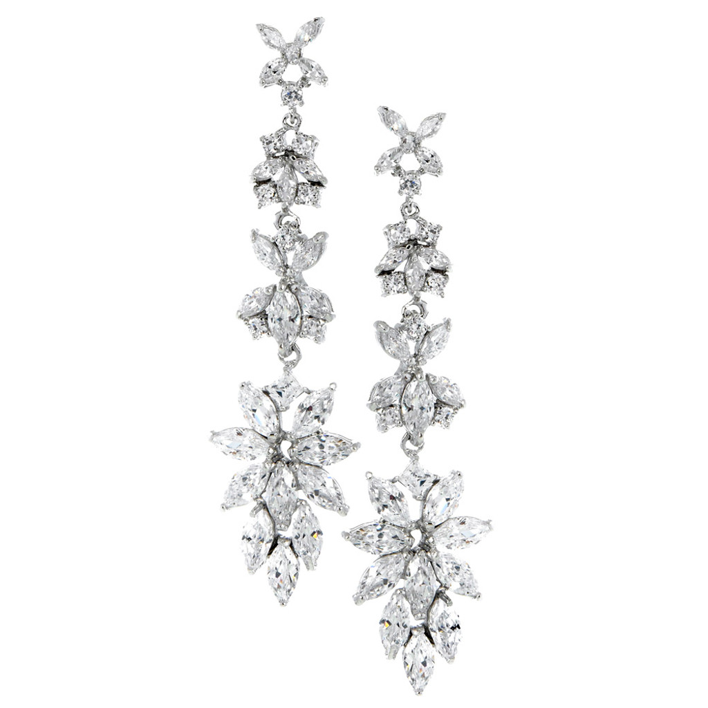 Red Carpet Designer Cut Cubic Zirconia Long Earrings