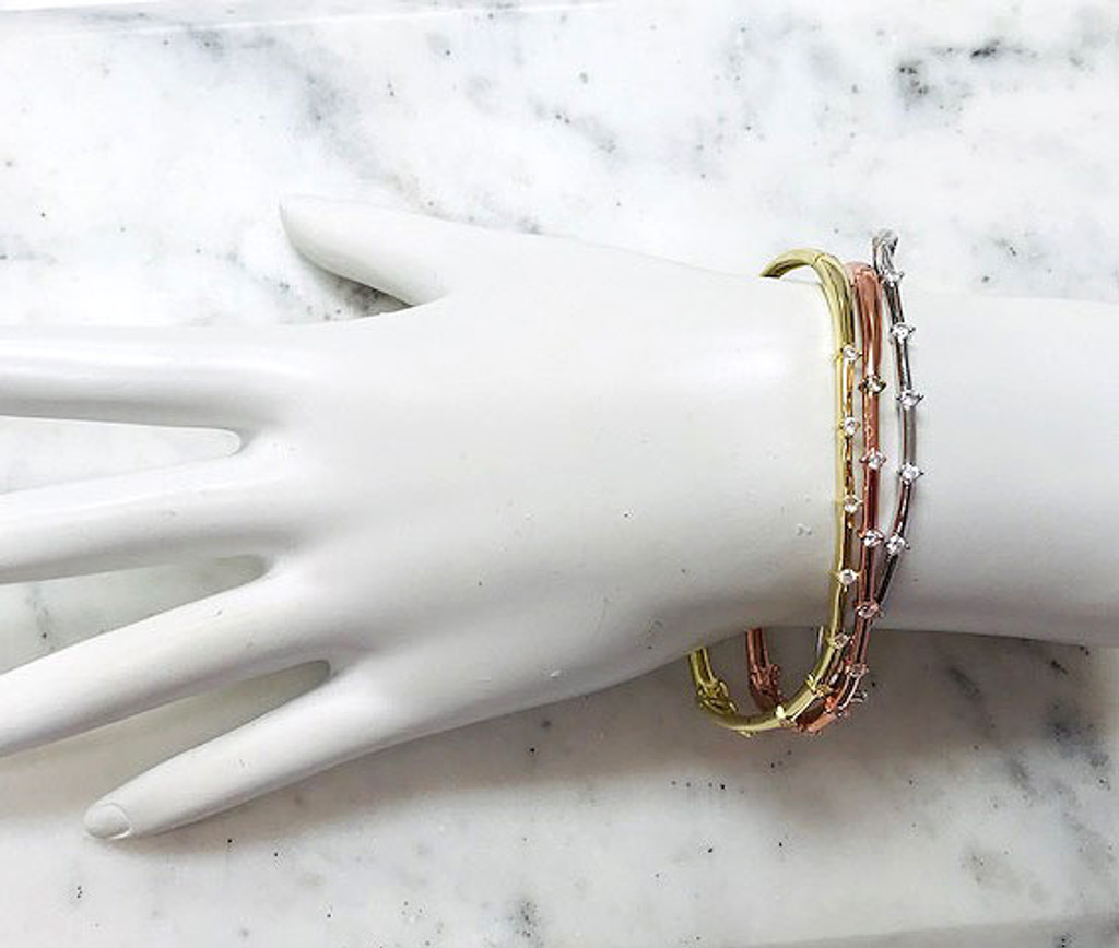 Set of Tri-Colored Wavy Bangles