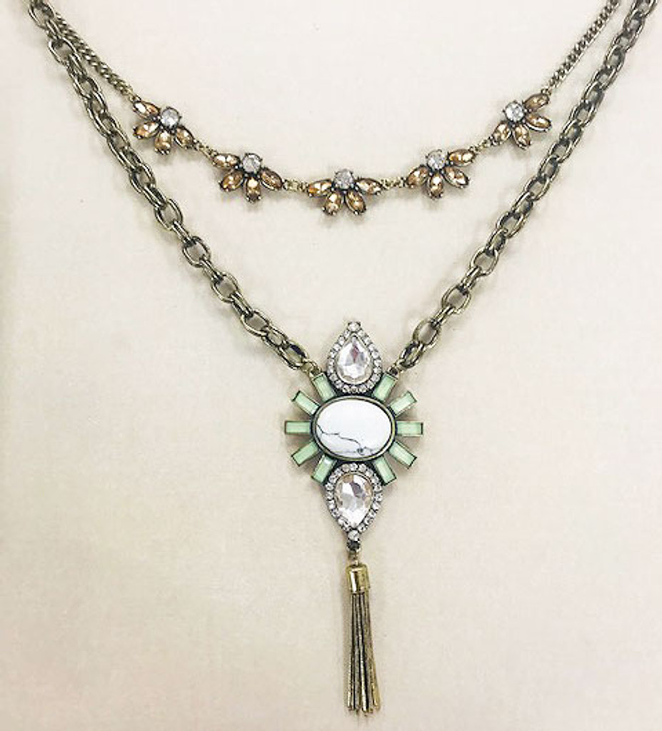 Modern Deco Double Layered Necklaces G
