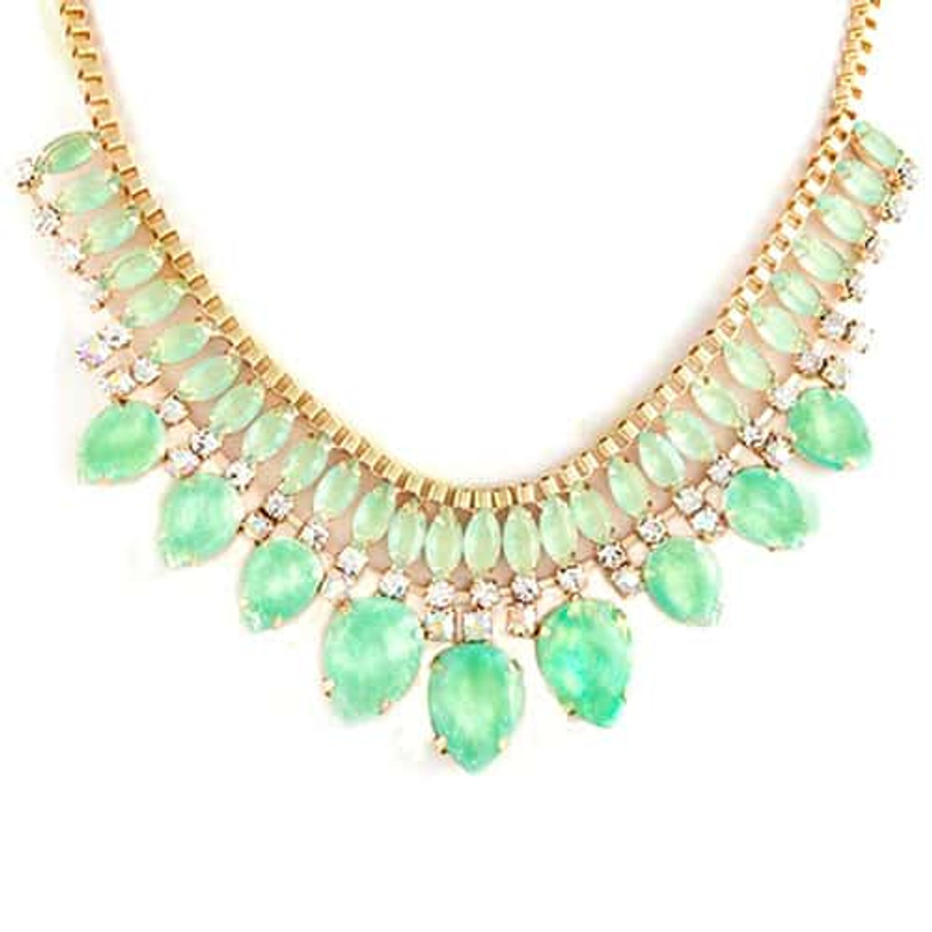 Pastel Mint Opalescent Jewel Cluster Necklace