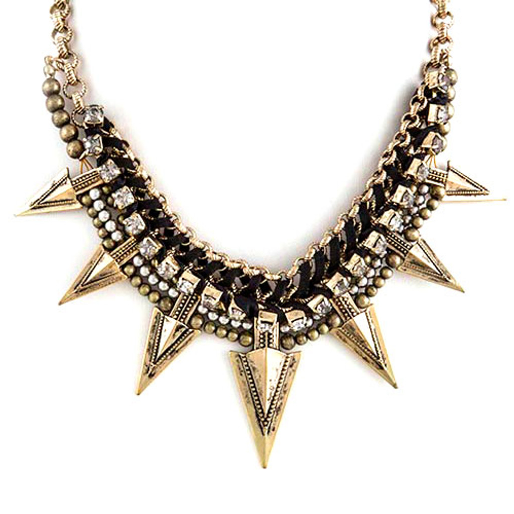 Edgy Spiked Mixed Chain Collar