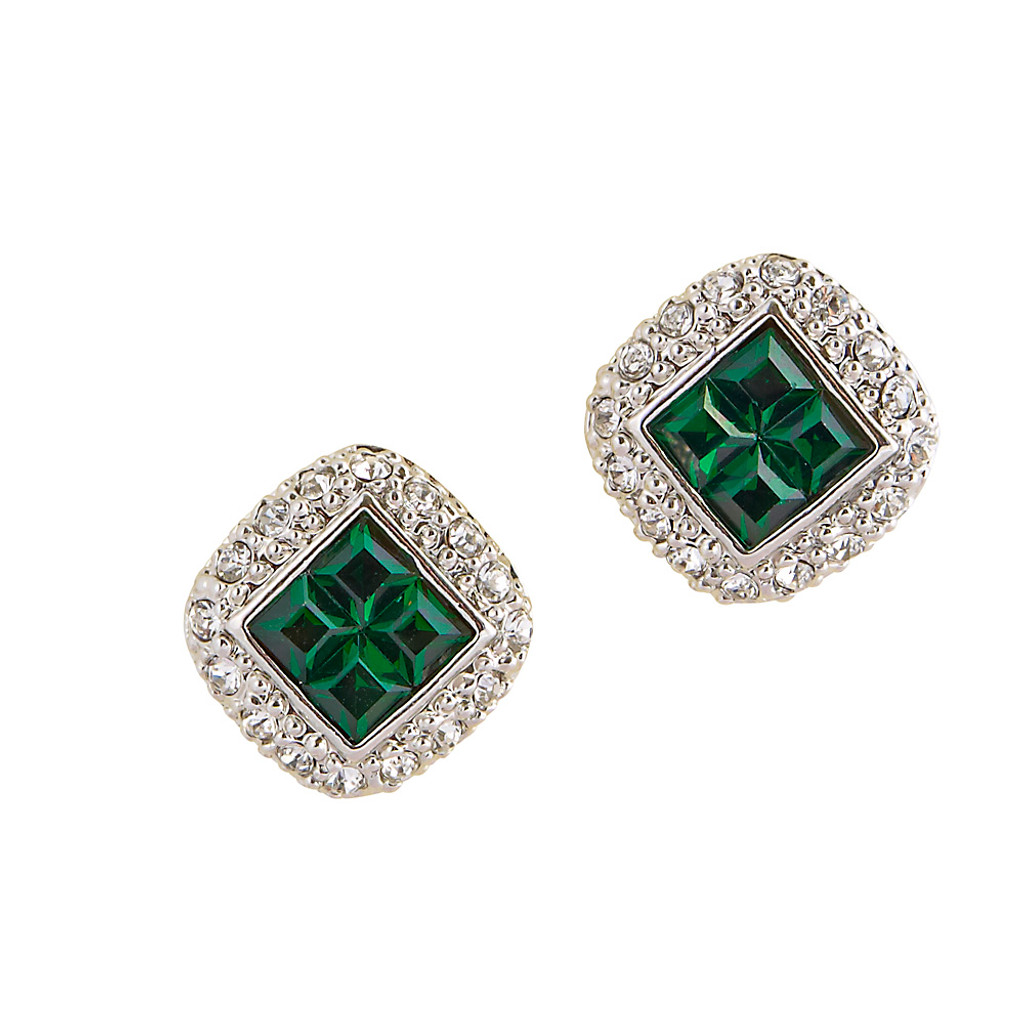 Four Emerald Post Earrings