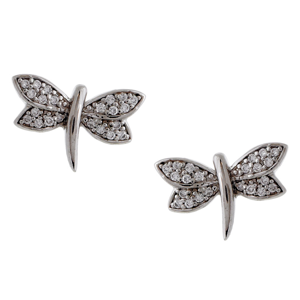 Cubic Zirconia Pave Dragonfly Earring