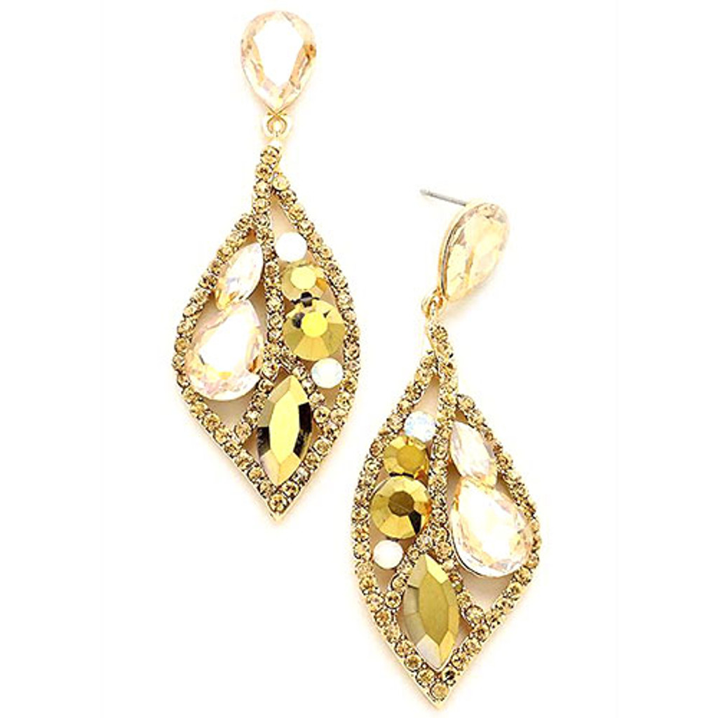 Lt. Colorado and Metallic Gold Crystal Mosaic Petal Earring