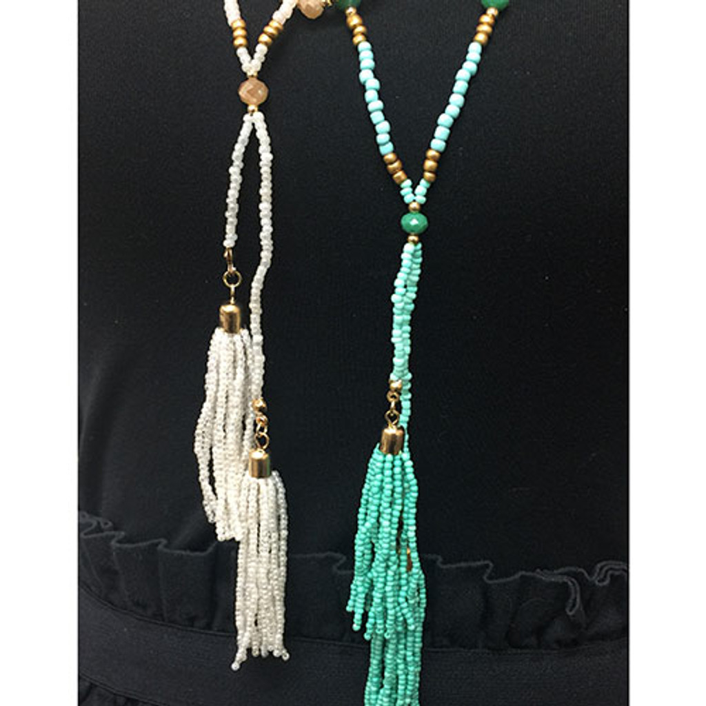 Ivory Beaded Double Strand Tassel Necklace