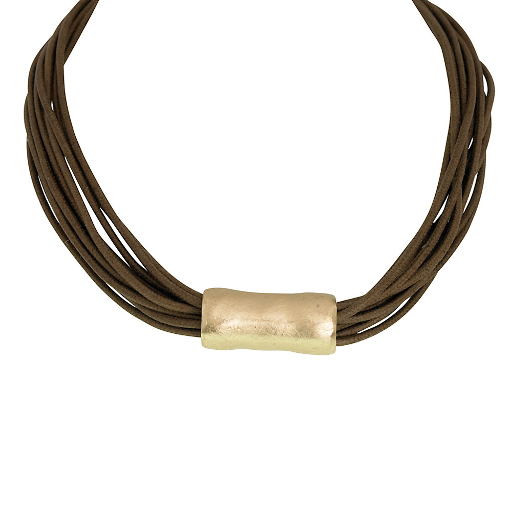 Multi Strand Brown Necklace With Gold