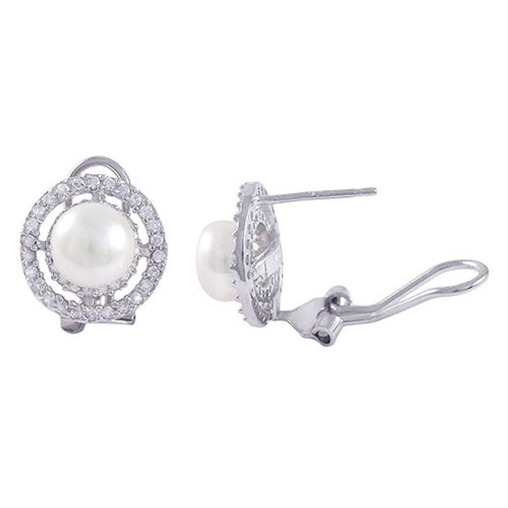 8MM Pearl and C.Z. Earring