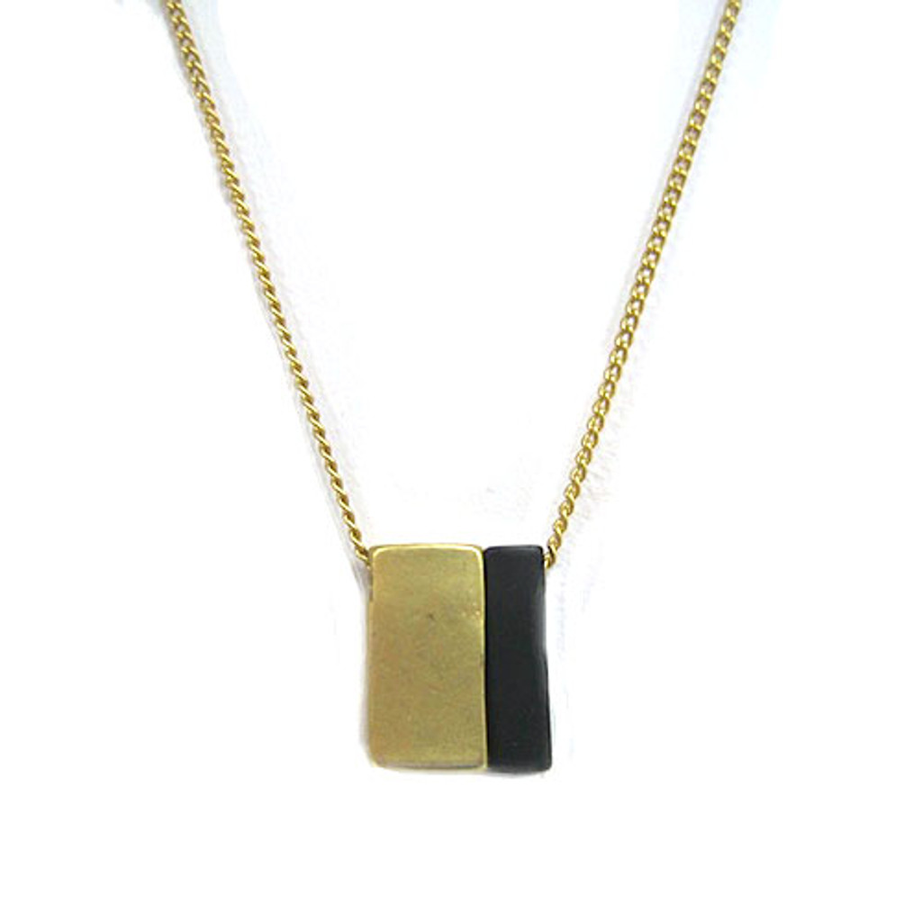 Petite Blocks Necklace in Silver 1