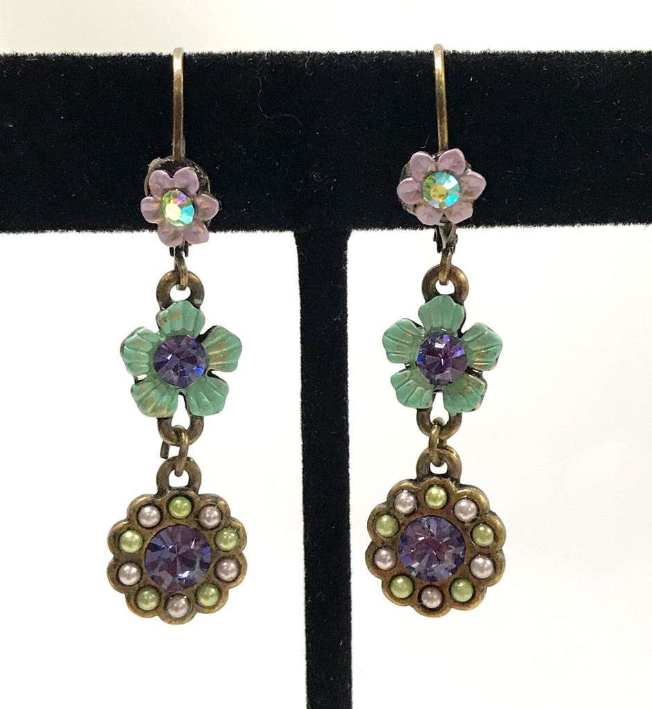 Antiqued Brass Flower Earring Turquoise and Lavender