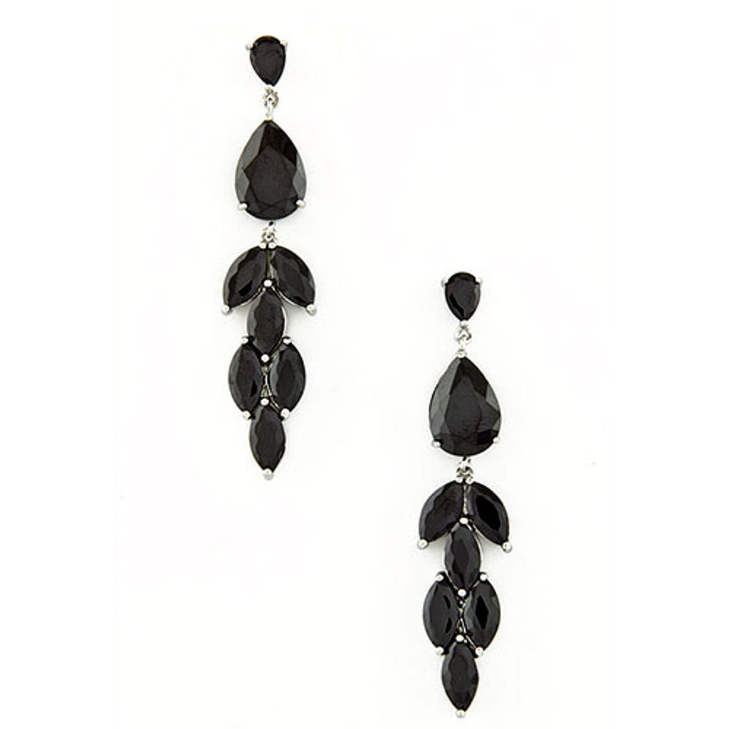 Glamorous Elongated Jet Black Crystal Earrings