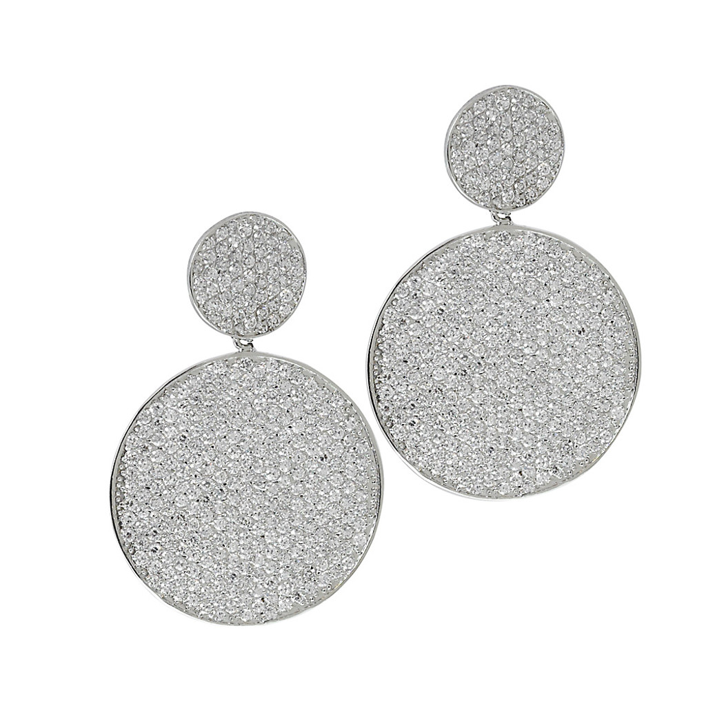 Signature Double Pave Disks Earring Silver
