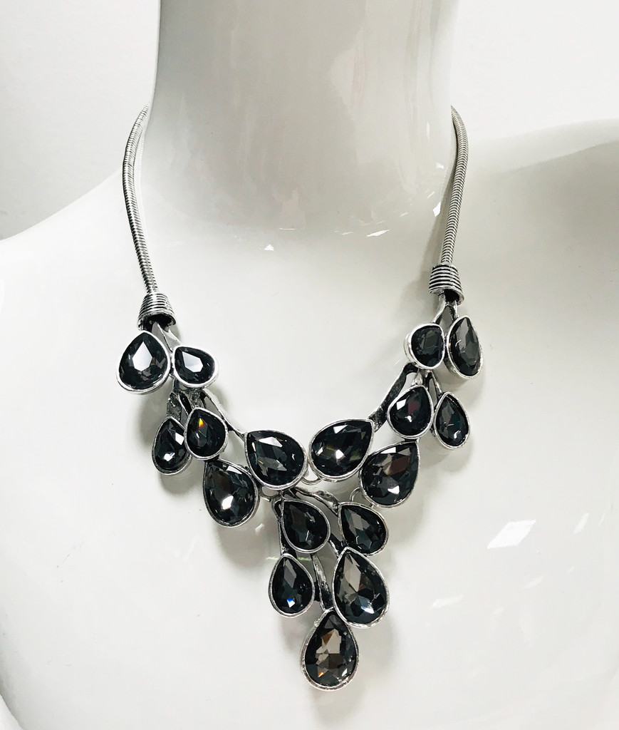 Black Diamond Crystal Vine Necklace