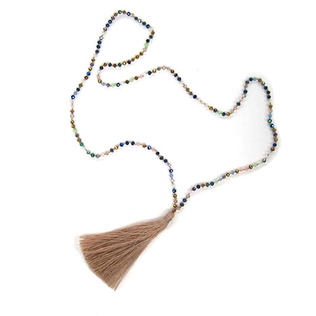 Iridescent Jewel Tone Metallic Crystal Beads & Tassel Necklace 3
