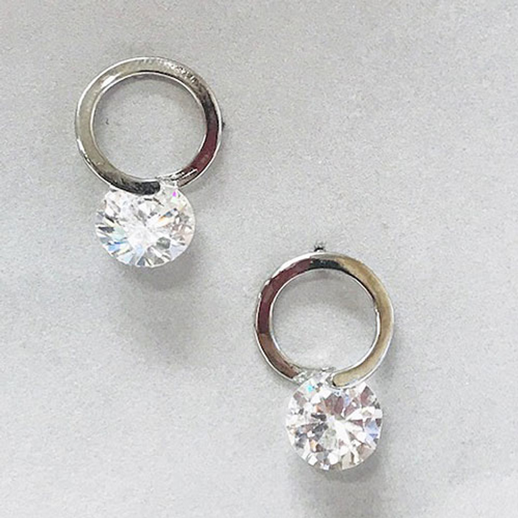 C.Z. In a Circle Silver Earring