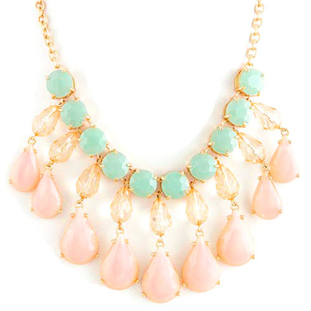 Pastel Pink Sorority Girl Dangle Necklace