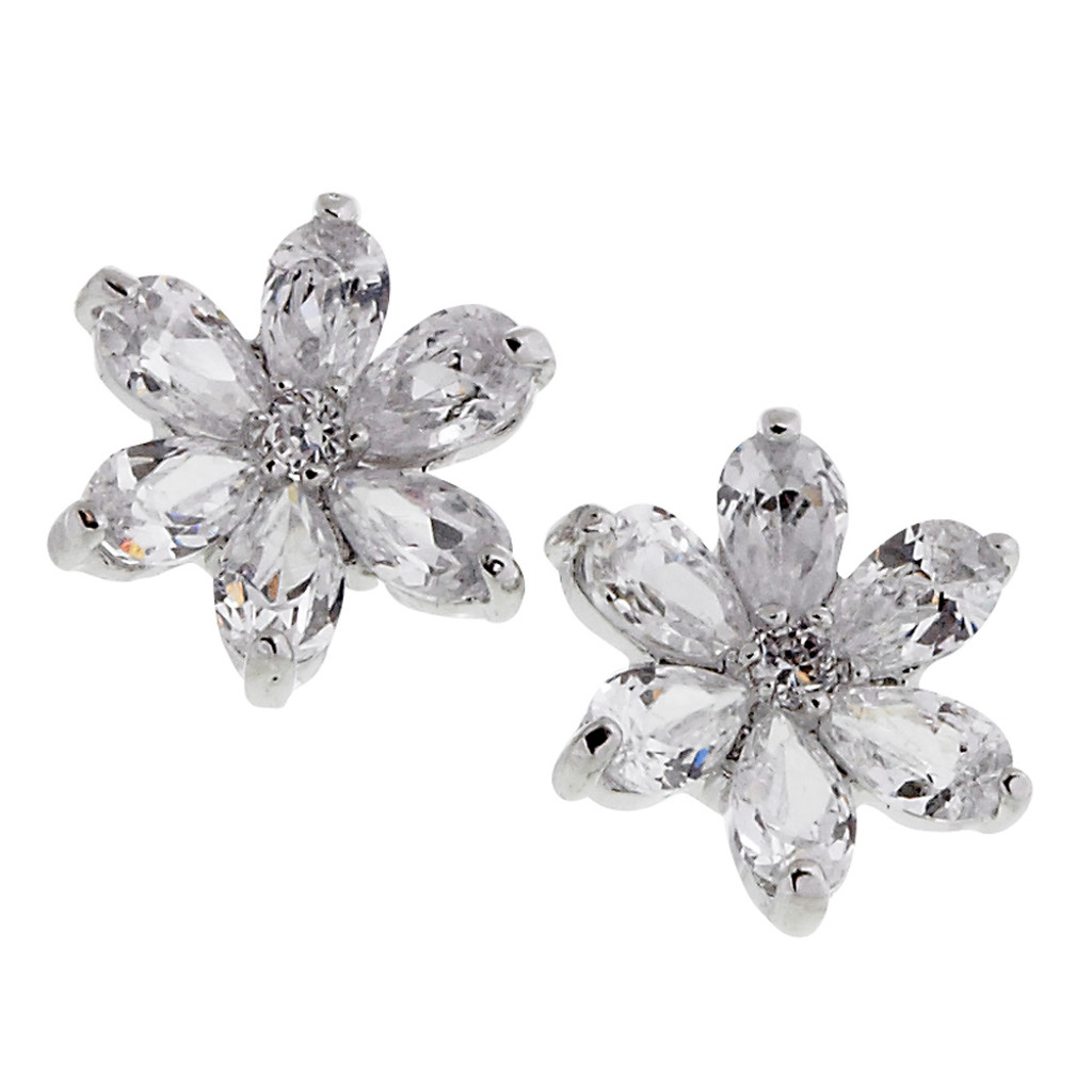 Cubic Zirconia Flower Post Earrings