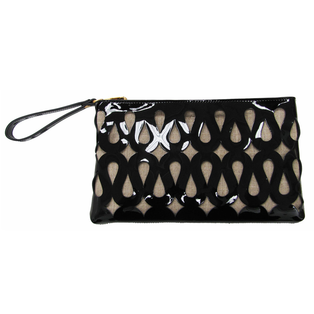 Black Patent Perforated Clutch