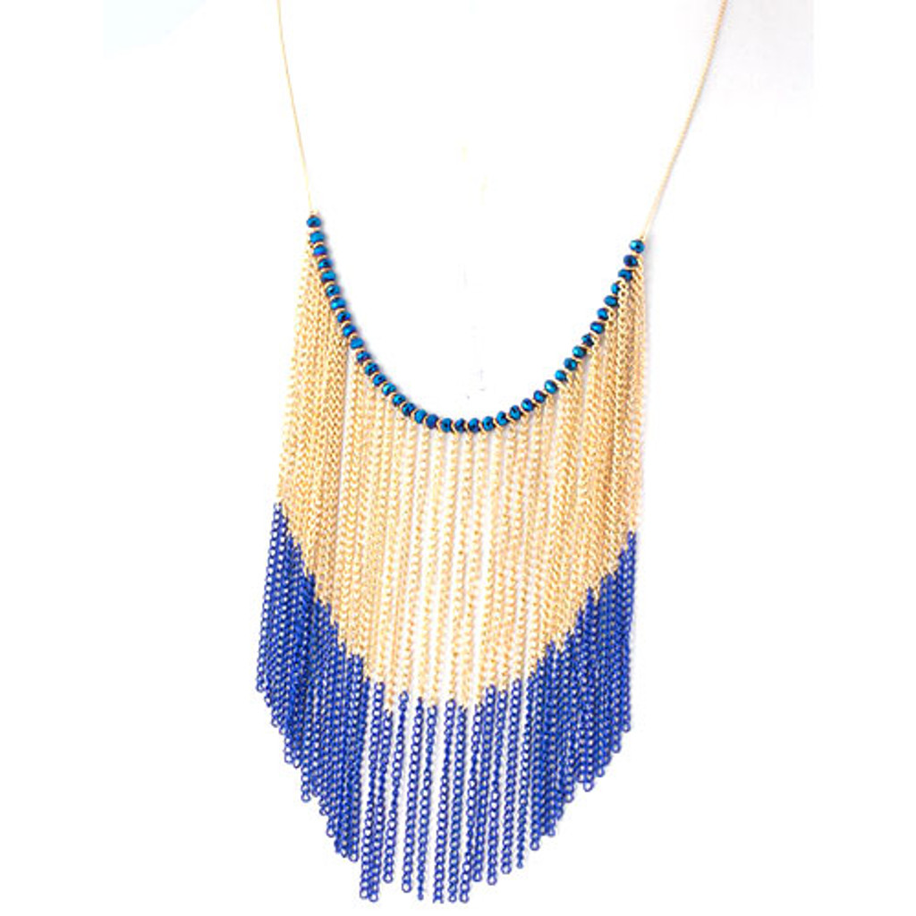 Two Tone Fringe Bib Necklace Blue