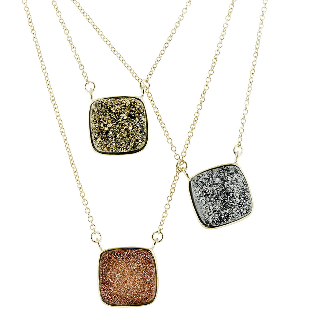 Druzy Gemstone Square Necklace