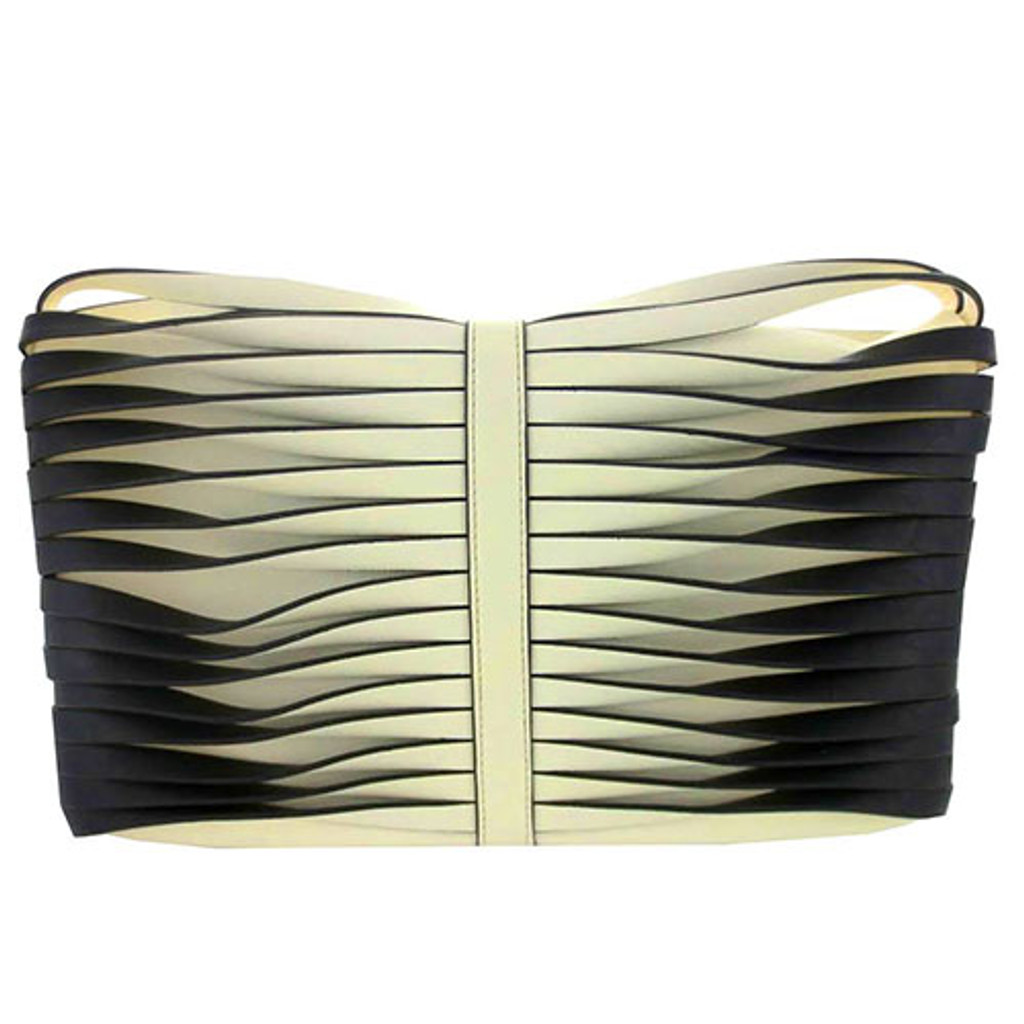 Sondra Roberts Twisted Nappa Fold Over Clutch White/Black
