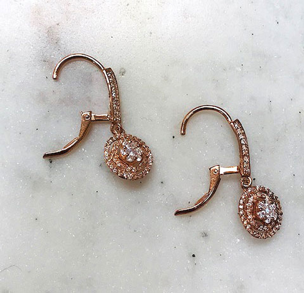 Rose Gold Cubic Zirconia Dangles
