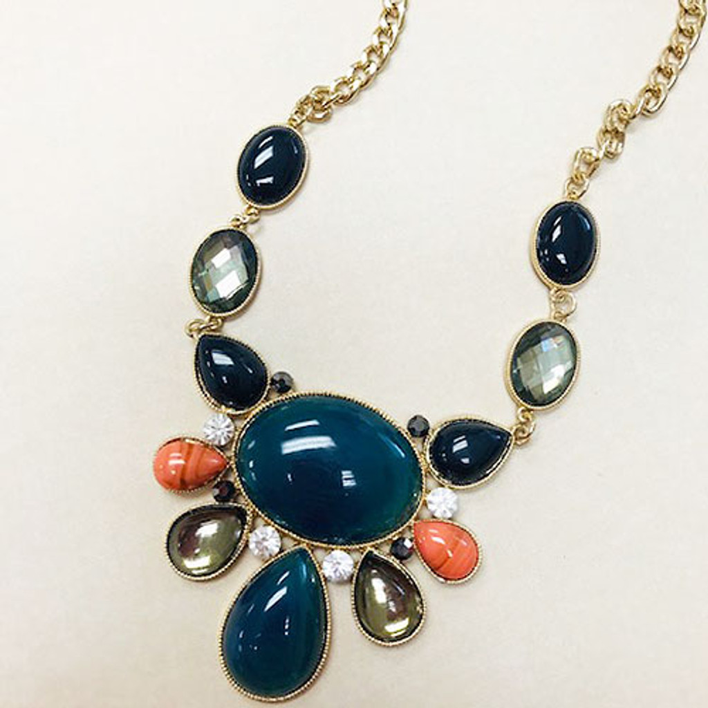 Navy and Coral Statement Piece