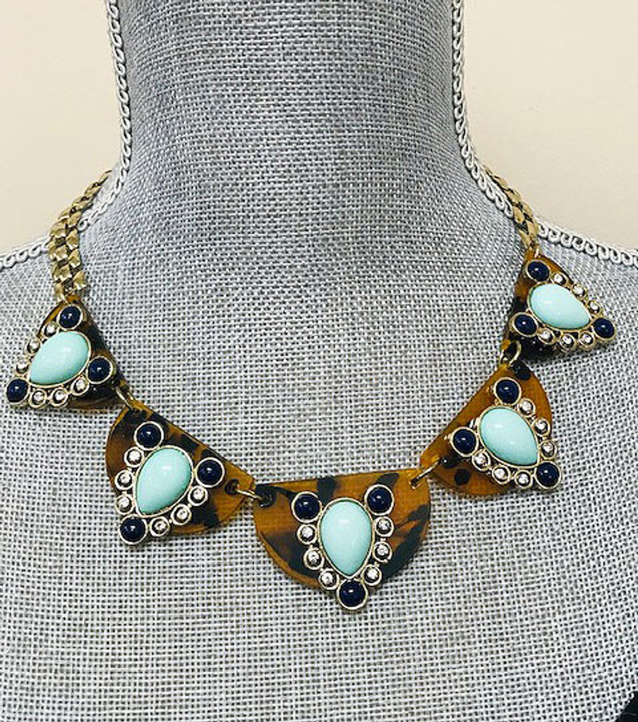 Jeweled Tortoise Shell Shield Necklace