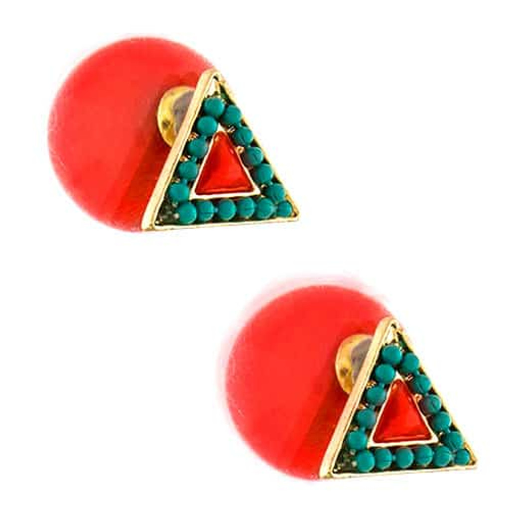 Beaded 360 Triangle Studs